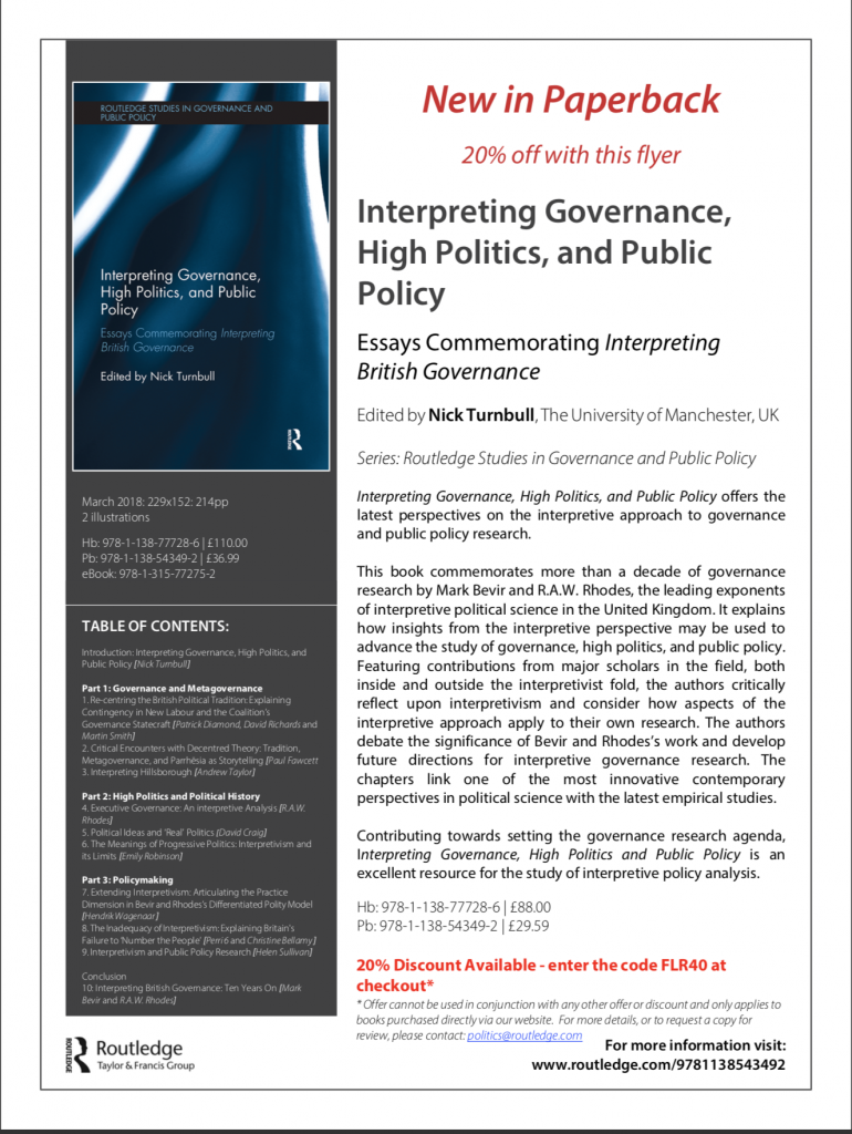 Essays commemorating Bevir & Rhodes, Interpreting British Governance